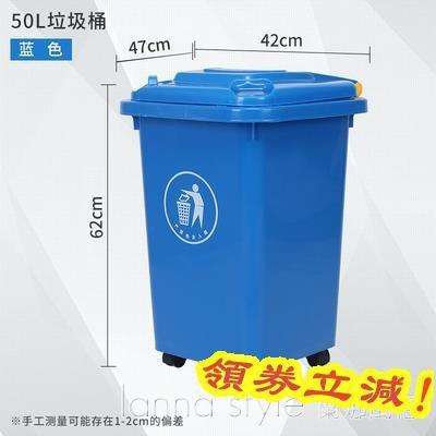 新品免運~滿千減百/帶輪子大垃圾桶大號環衛商用戶外分類箱廚房帶蓋方形家用~領券更優惠