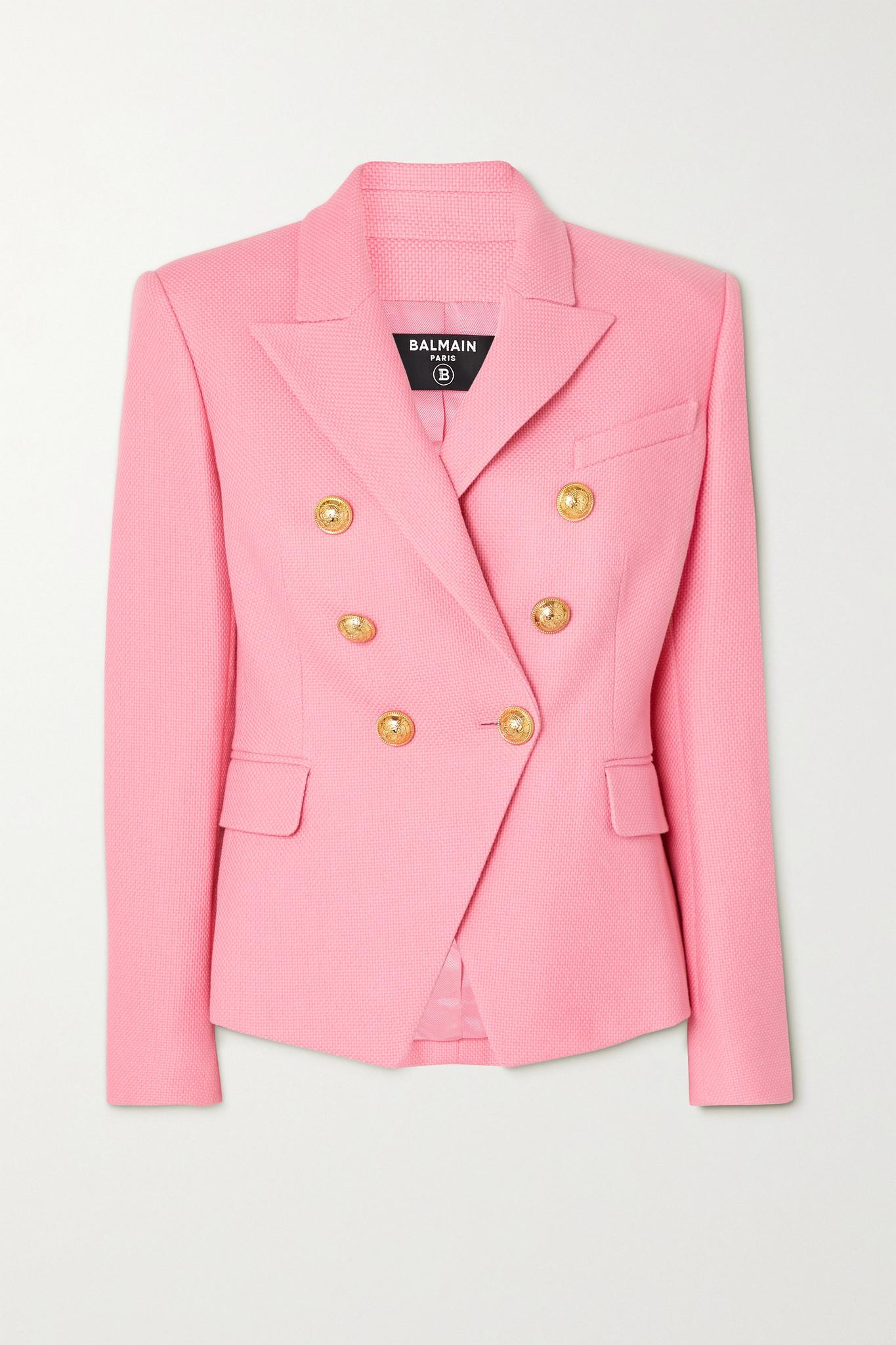BALMAIN - Double-breasted Cotton-piqué Blazer - Pink - FR44