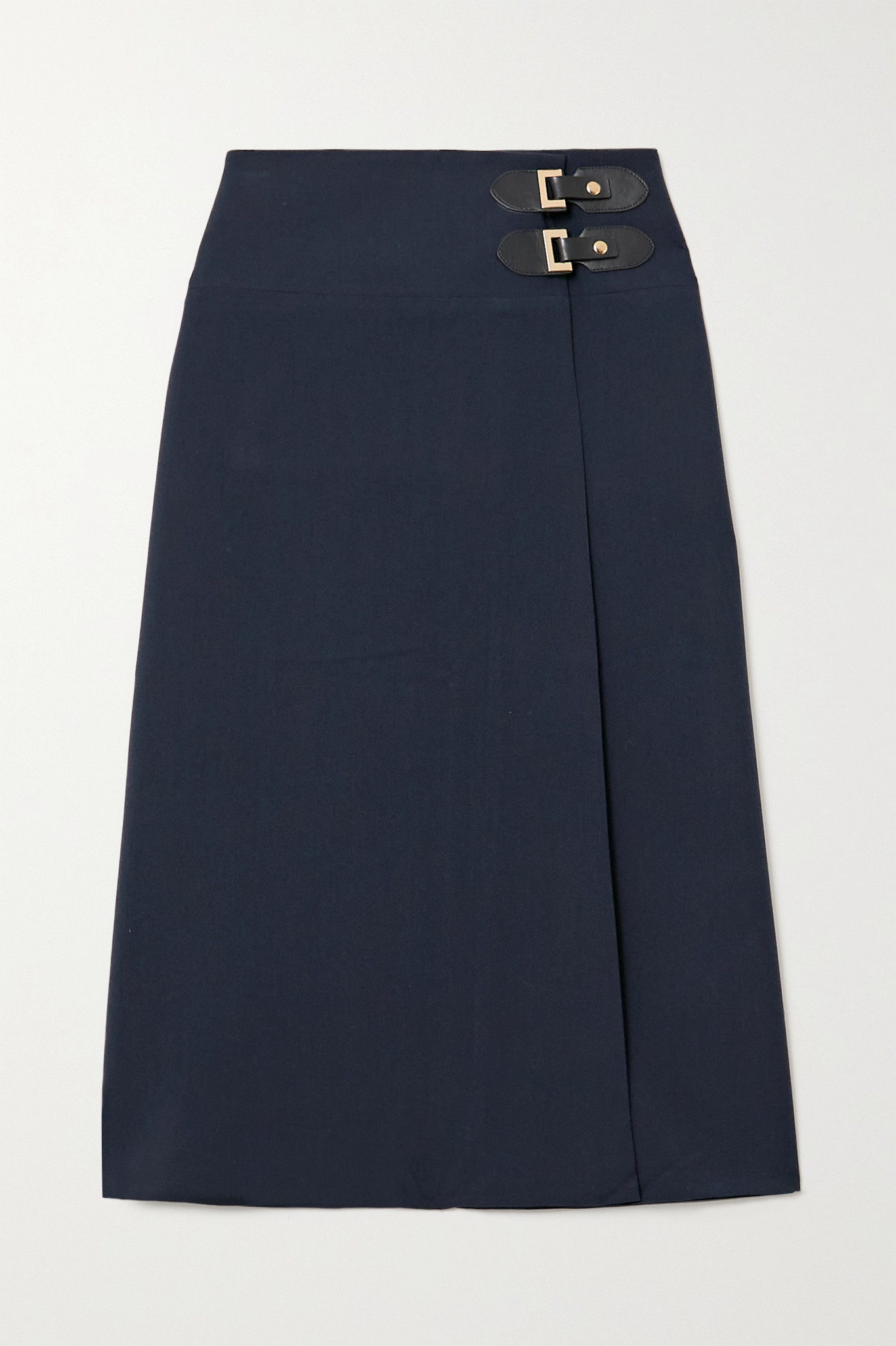 ÀCHEVAL PAMPA - Volada Leather-trimmed Woven Wrap Skirt - Blue - small