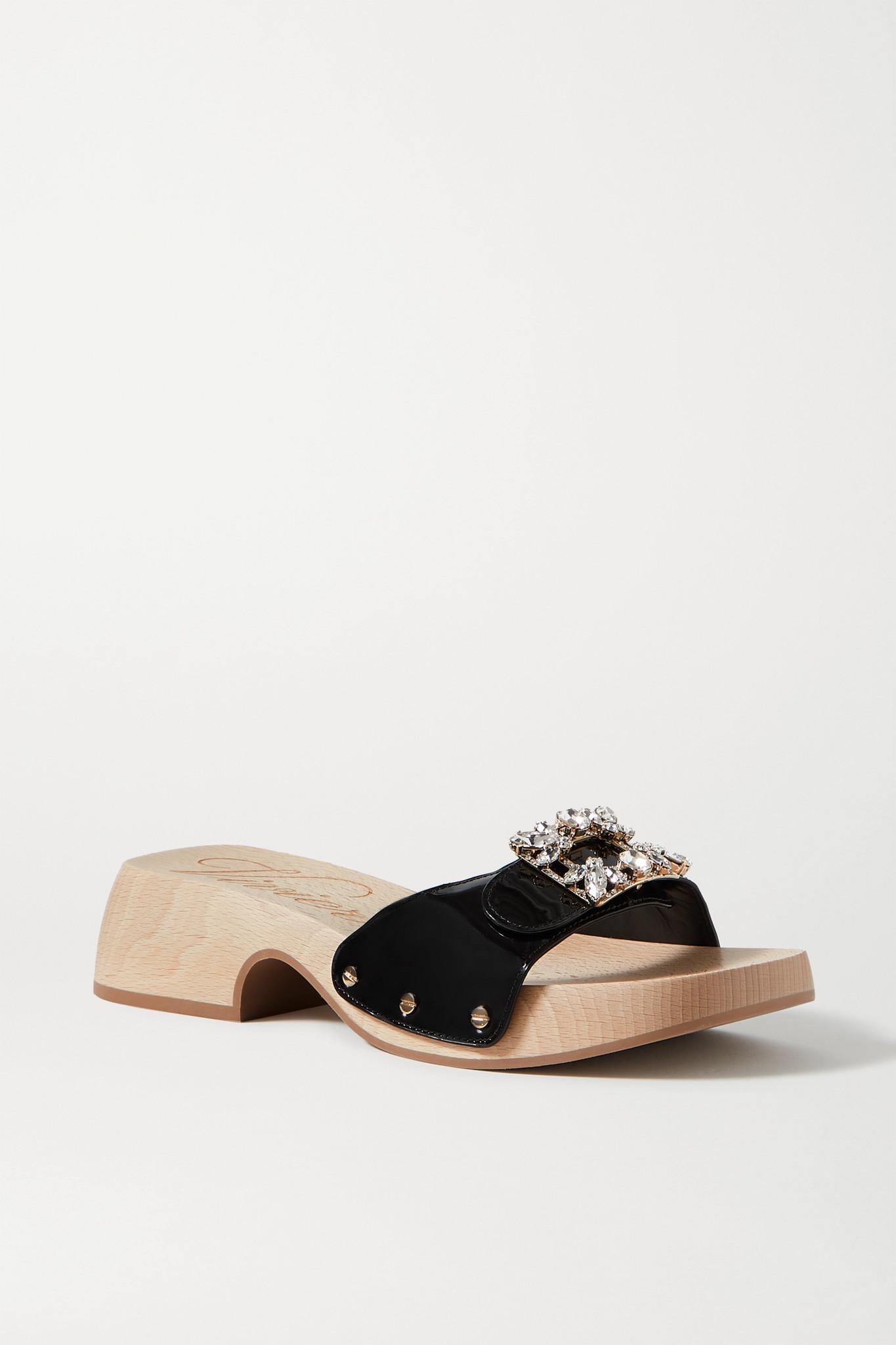 ROGER VIVIER - Viv 水晶缀饰漆皮穆勒鞋 - 黑色 - IT40