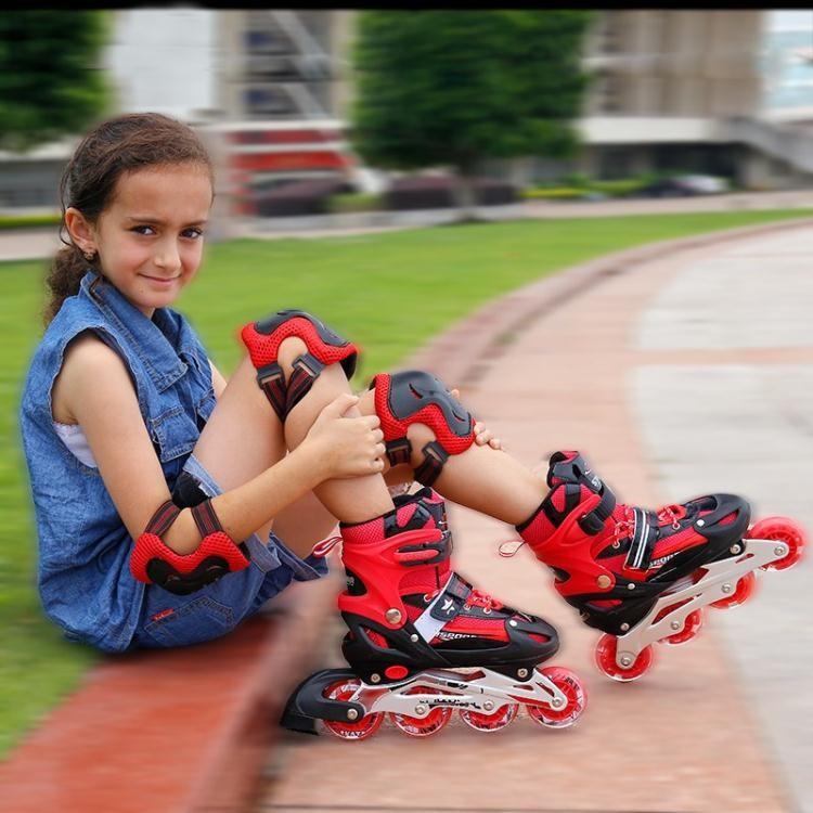 【花田美居】溜冰鞋 女孩溜冰鞋412歲可調兒童初學者女童男童粉公主發光夜光閃光輪滑