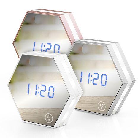 USB充電式 六角形可調光鏡子鬧鐘白色