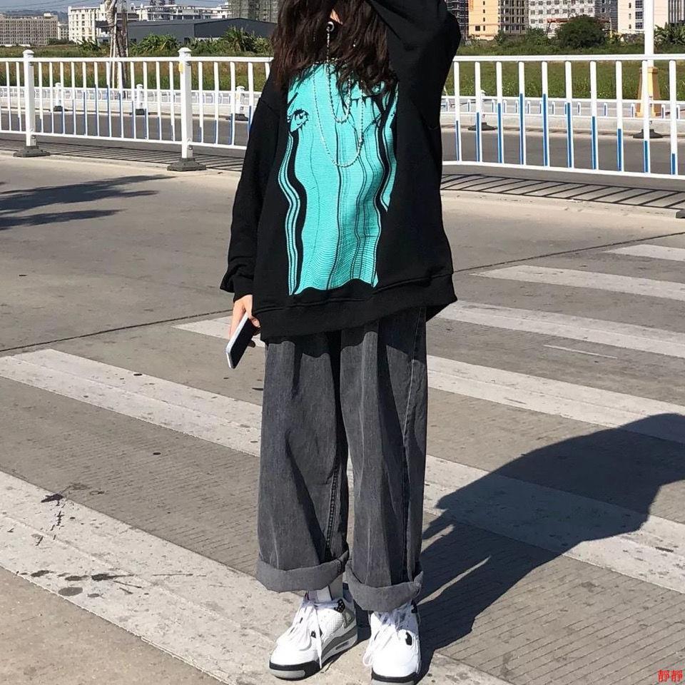 【特惠】秋冬季新款韓版寬松原宿煙灰高腰闊腿褲女學生百搭直筒長褲子
