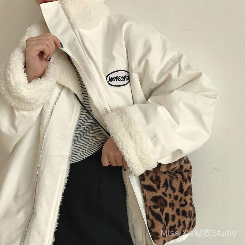 雙面穿棉服女冬季羊羔毛絨外套女春秋學生韓版寬鬆立領棉衣棉襖潮