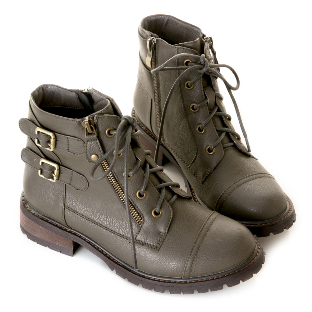 【限時7折】酷感版-側金屬扣繫帶拉鍊鋸齒靴 灰 Z-11GY