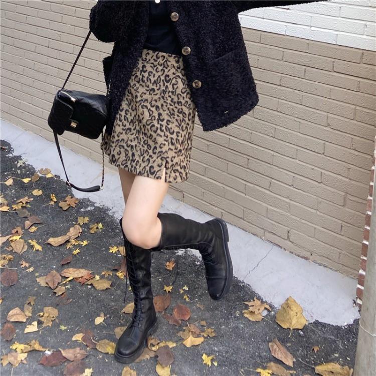 實拍 冬季新款韓風百搭高腰顯瘦毛呢豹紋開叉半身裙A字裙32186