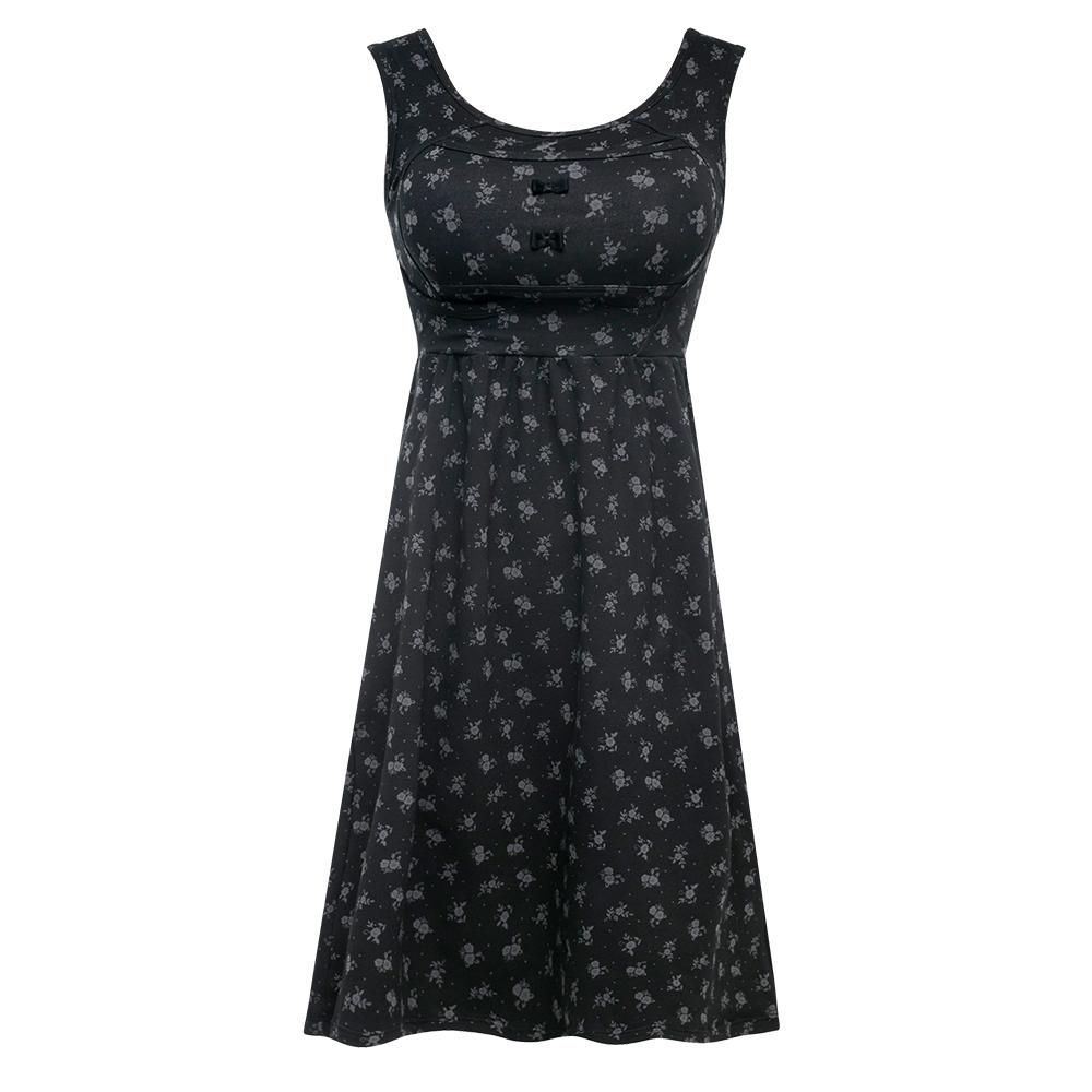 雙C防擴對策 新版 棉感美胸洋裝-黑底灰花