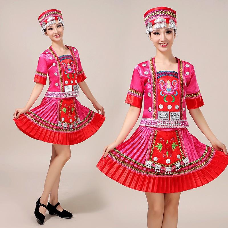 少數民族服裝女貴州苗族土家族演出服云南瑤族侗族彝族舞蹈表演服