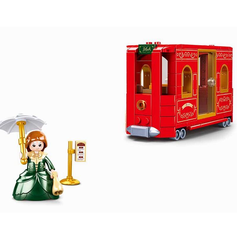 紅色 145PCS 生日禮物 觀光纜車 適合兒童 城市 教育積木 城市 兼容 愛好 對此感興趣 ︰