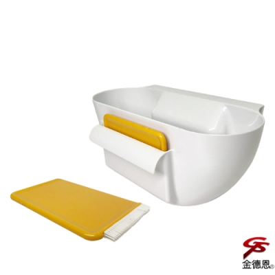 金德恩 台灣製造 免安裝崁入式流理台清潔籃(附兩用清潔推片)
