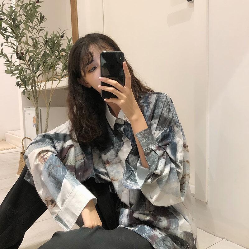 碧丽斯(原版)2021春秋新款復古港味長袖花襯衫女設計感小眾襯衣外套潮