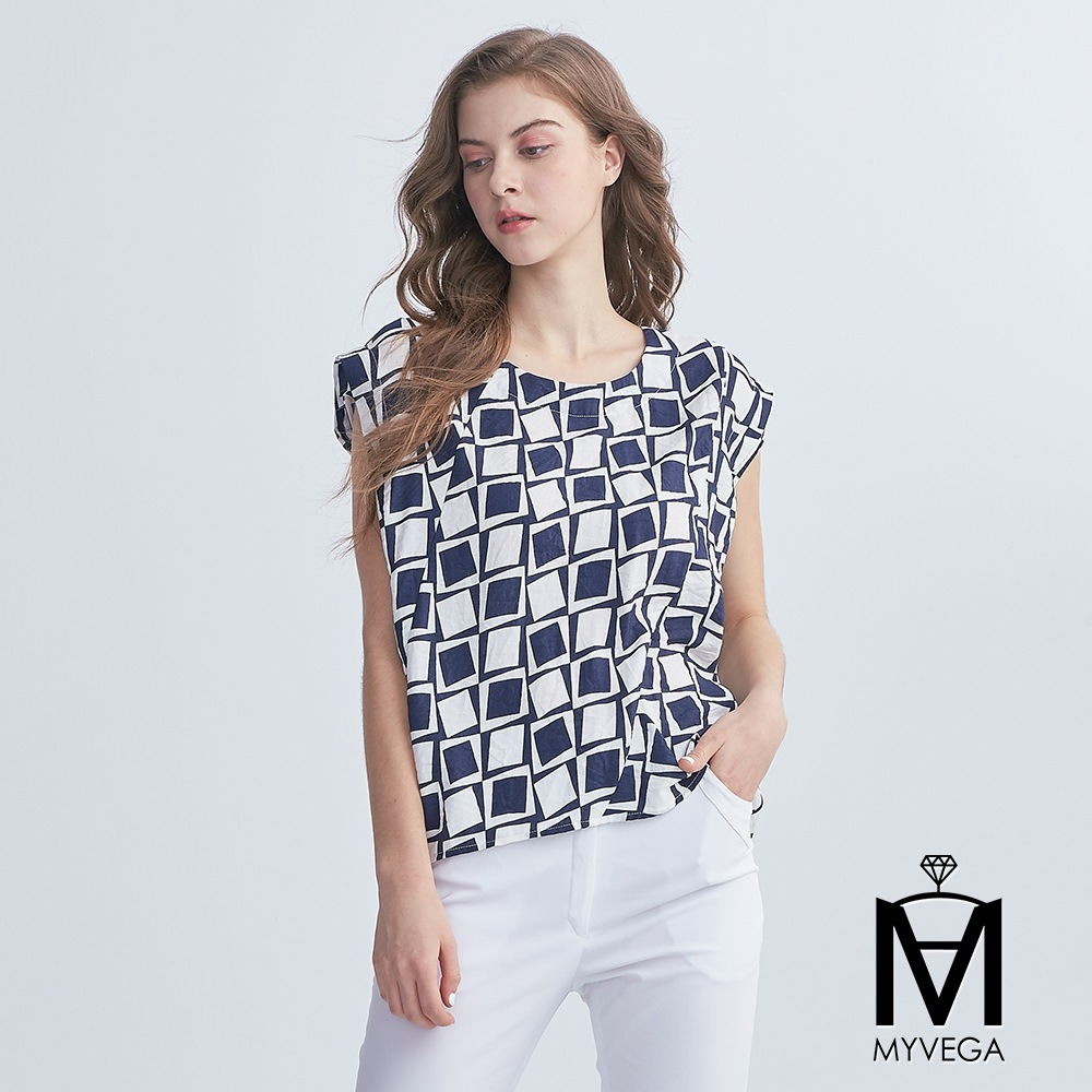 【麥雪爾】MA滿版撞色方塊落肩上衣