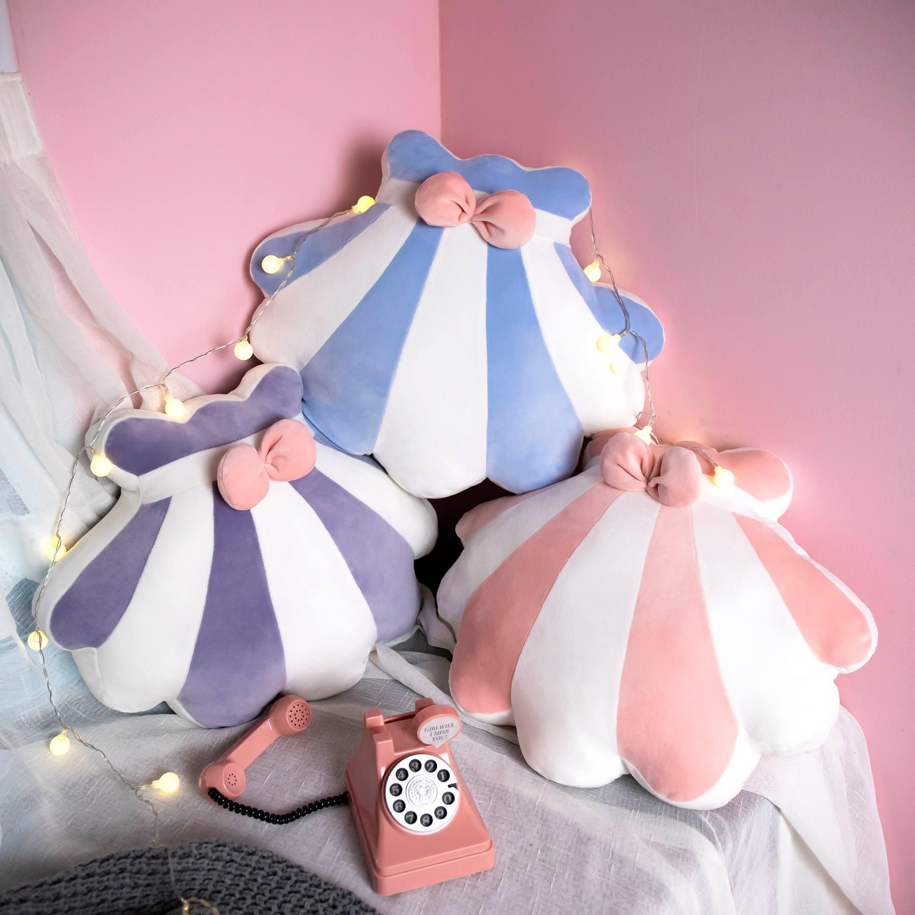 ⚡現貨發售⚡ 創意可愛彩條貝殼抱枕北歐風香水瓶靠墊居家辦公室少女心禮物批發 0223