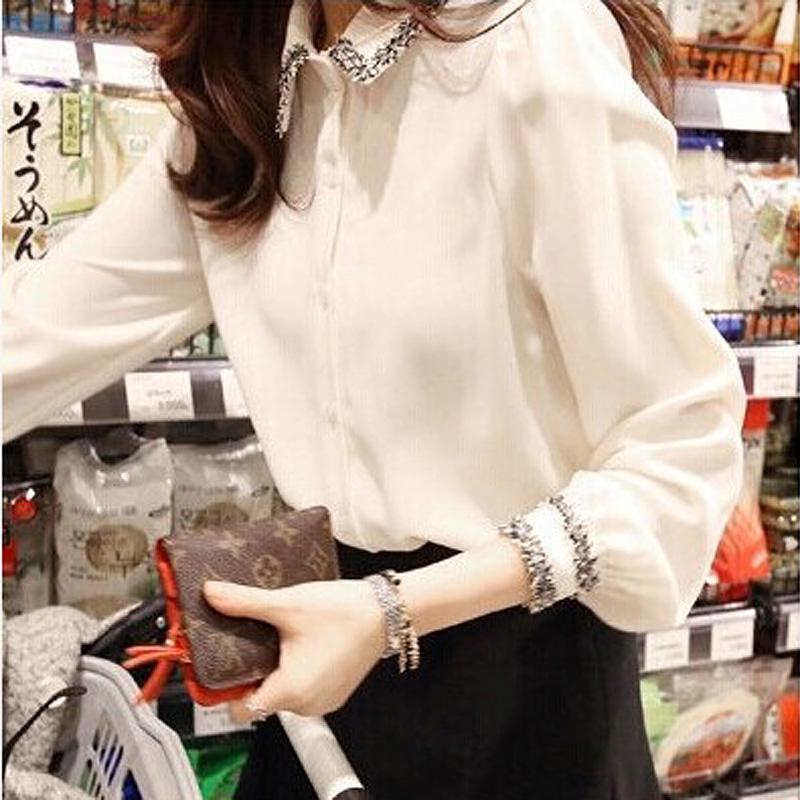 【現貨】春裝新款韓版襯衫 百搭打底襯衣 修身顯瘦襯衫 長袖襯衫 OL職業氣質襯衫 白色襯衫女 大碼MM襯衫