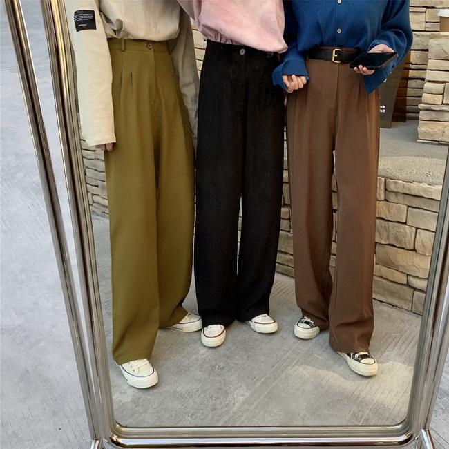 FOFU-韓版寬鬆高腰垂感西裝褲女百搭直筒闊腿長褲【08SG04648】