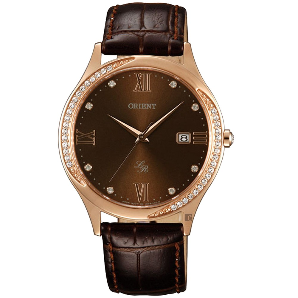 ORIENT 東方錶 晶鑽石英女錶-咖啡x玫瑰金/36.5mm FUNF8001T