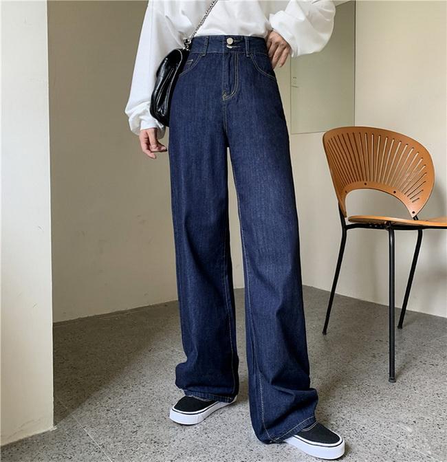 FOFU-牛仔闊腿褲女高腰顯瘦寬鬆垂感拖地休閒褲【08SG04903】