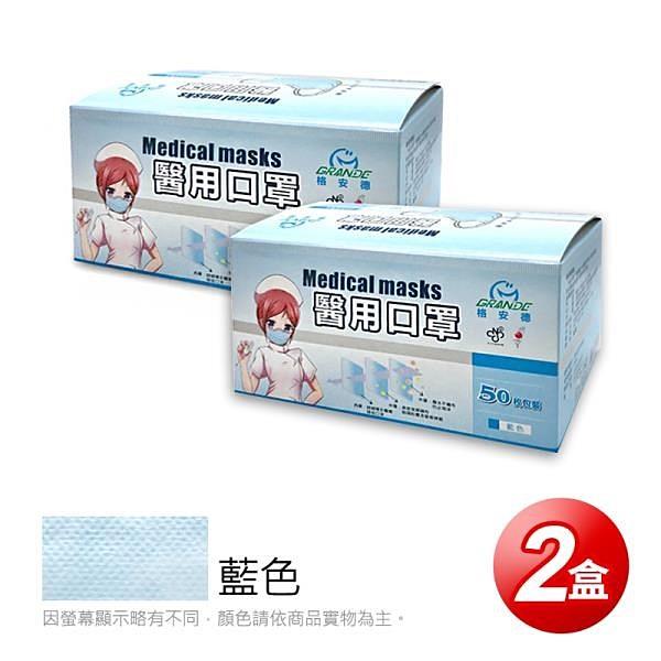 【南紡購物中心】【GRANDE格安德】醫用成人平面口罩(50片/盒),共2盒,藍色