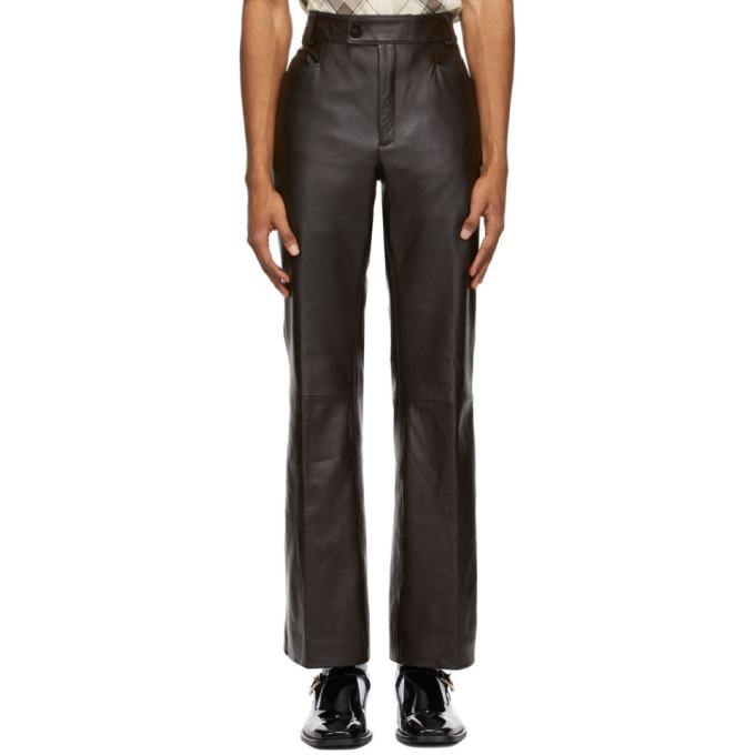 Ernest W. Baker 棕色皮革喇叭裤