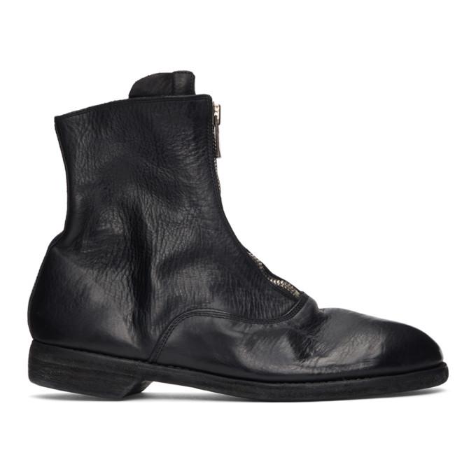 Guidi 黑色 210 前拉链踝靴