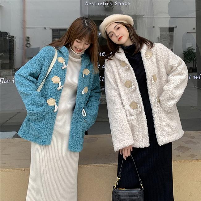 FOFU-牛角扣羊羔毛外套女毛絨保暖鋪棉加厚【08SG04842】