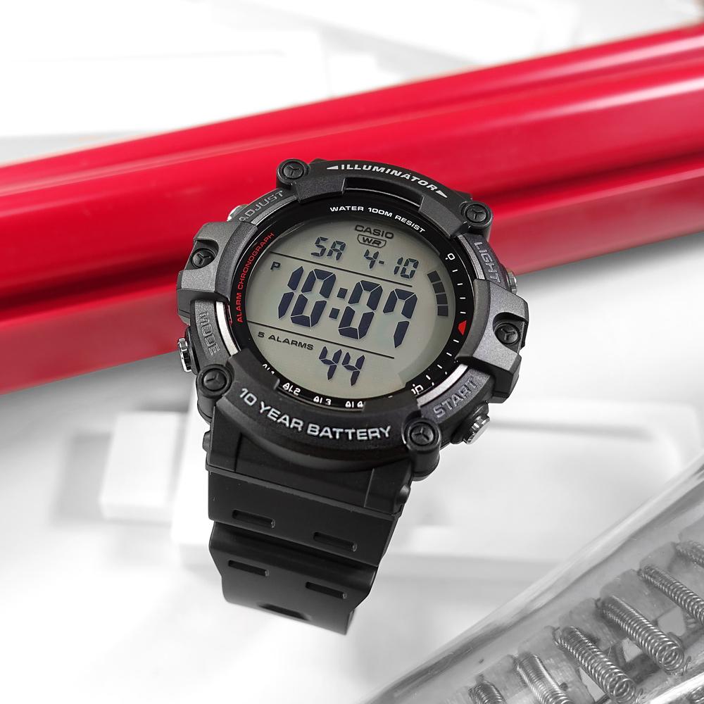 CASIO / AE-1500WH-1A / 門市販售中 訂購詳情歡迎私訊LINE / 卡西歐 運動潮流 計時碼錶  兩地時間 防水100米 電子數位 橡膠手錶 黑色 50mm