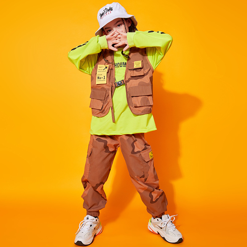 小童星 兒童街舞表演服 嘻哈兒童秋季工裝馬甲兩件套少兒hiphop女孩演出服潮