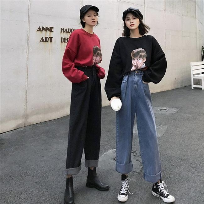 FOFU-雜誌風老爹褲復古高腰顯瘦寬鬆闊腿牛仔褲【08SG04854】