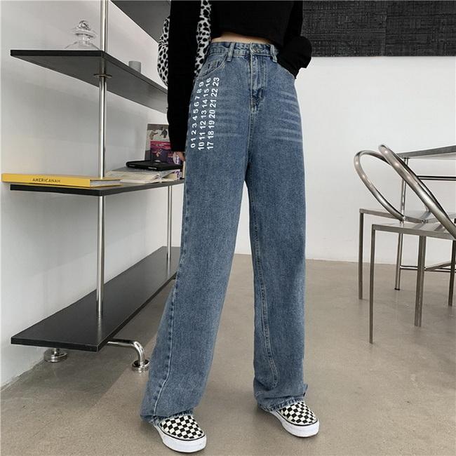 FOFU-女寬鬆印花顯瘦直筒水洗藍色高腰牛仔褲【08SG04923】