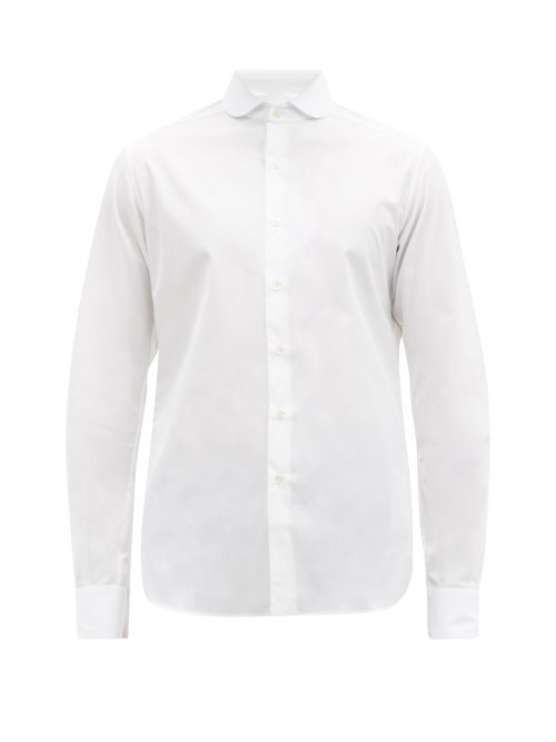 Sébline - Chemise De Garçon Round-collar Cotton-poplin Shirt - Mens - White