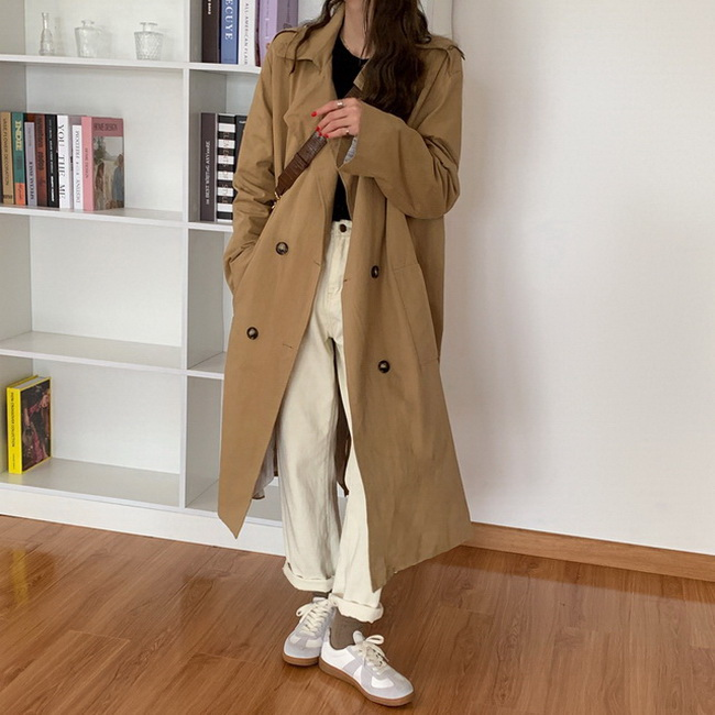 FOFU-韓版英倫風雙排扣風衣女中長版寬鬆百搭外套【08SG04578】