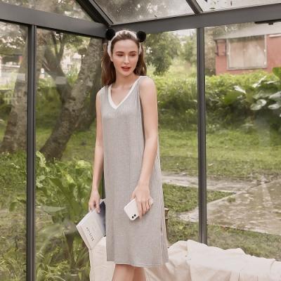 Olivia 舒冉系列-木棉花 V領長版羅紋居家連衣裙-灰色