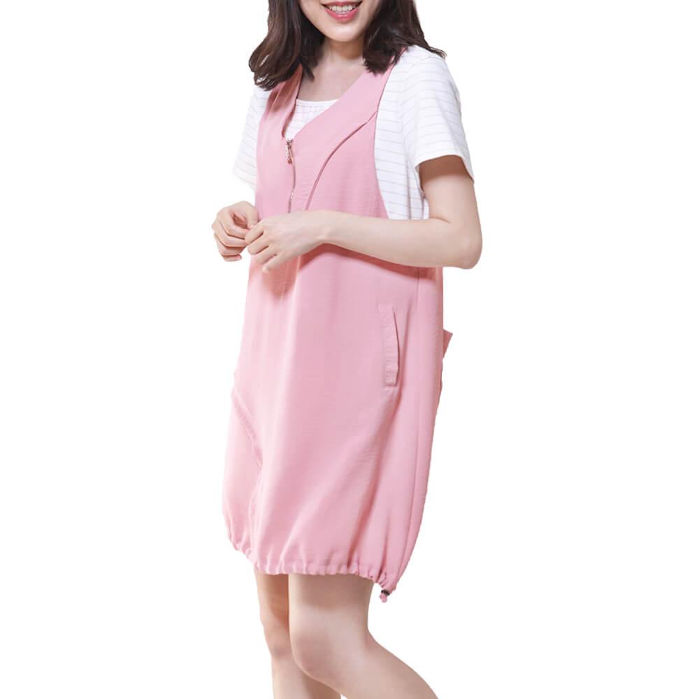背心式假兩件  休閒洋裝一粉 中大尺碼(1705006) 短袖 中F 棉質 現貨