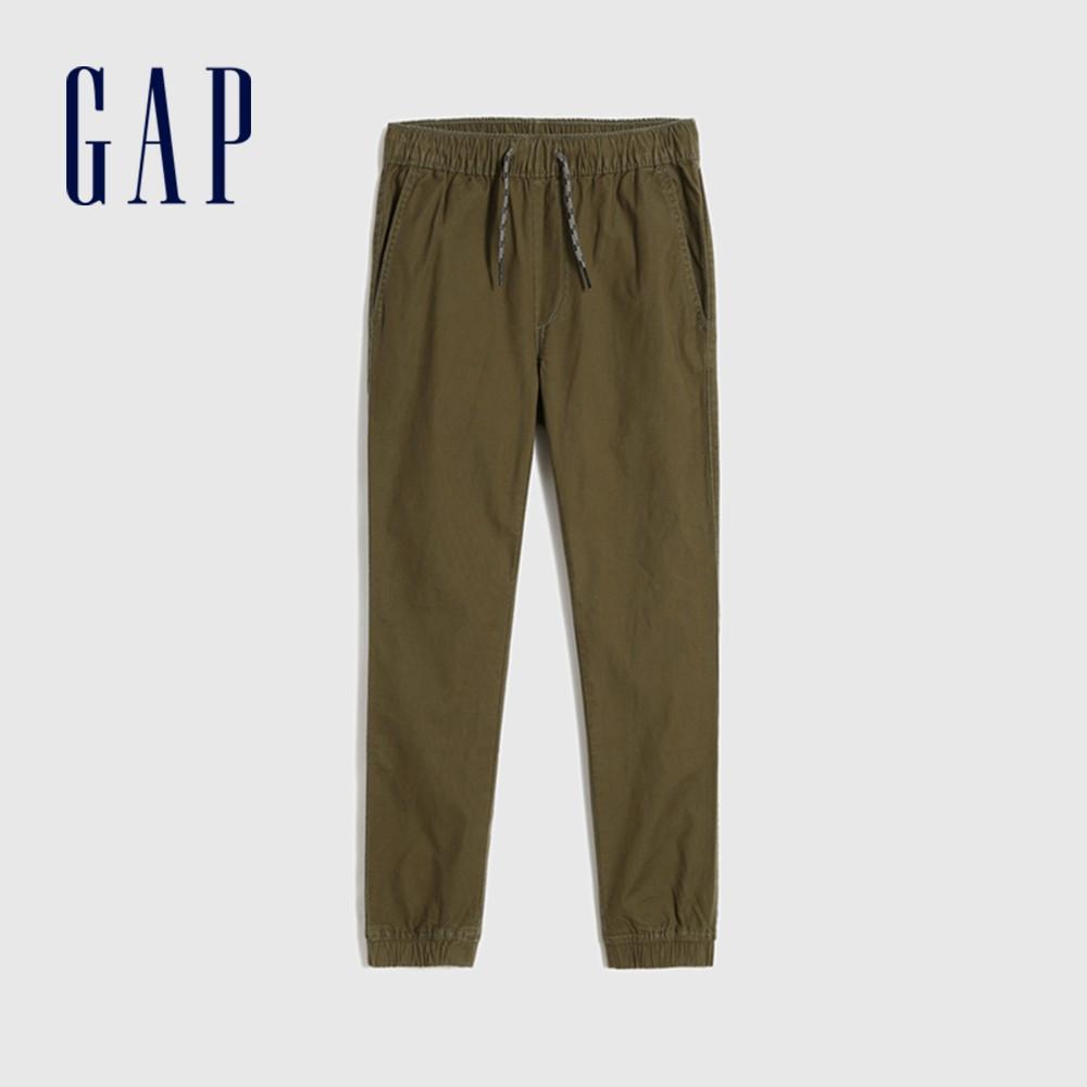 Gap 男童 簡約風格鬆緊休閒長褲 602573-綠色