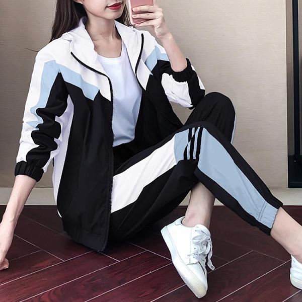 休閒套裝 運動服休閒套裝女春秋裝2021新款韓版寬鬆時尚跑步連帽連帽T恤兩件套