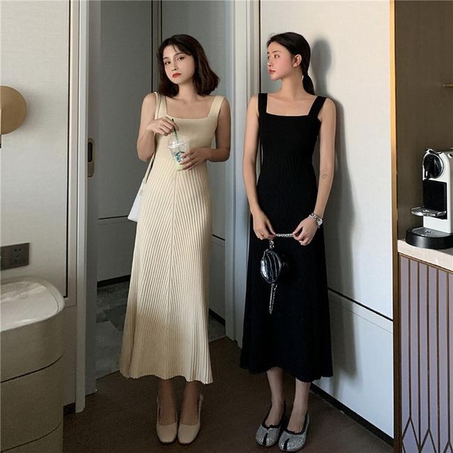 FOFU-顯瘦針織吊帶連身裙百搭高腰中長裙內搭裙【08SG04849】