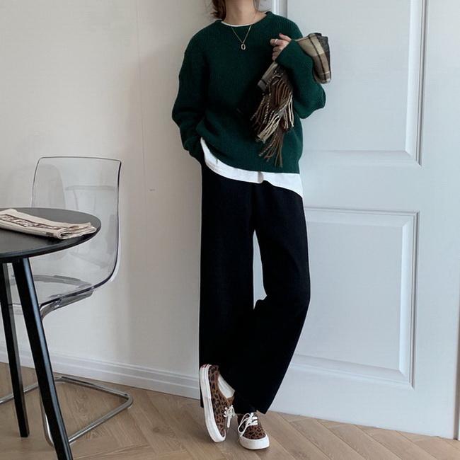 FOFU-韓版高腰顯瘦毛呢闊腿褲簡約百搭休閒褲長褲【08SG04605】