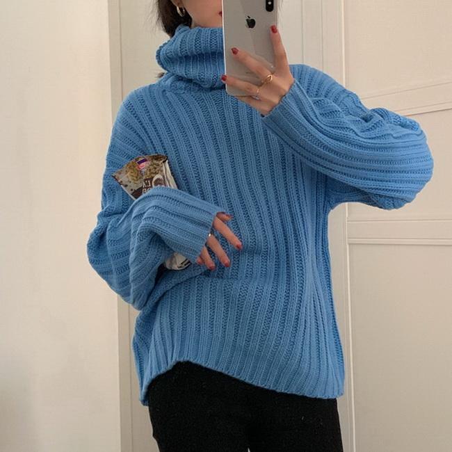 FOFU-韓版坑條紋高領毛衣寬鬆簡約針織上衣【08SG04590】