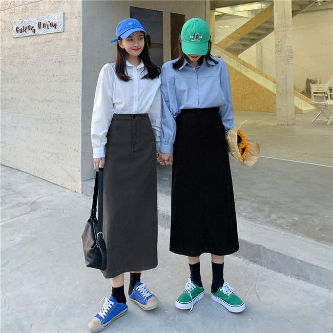 FOFU-高腰顯瘦直筒中長版裙子設計感半身裙【08SG04890】