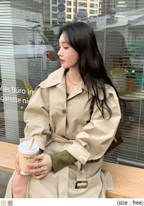 韓國空運 - 壓褶澎袖單排釦長版大衣 大衣外套