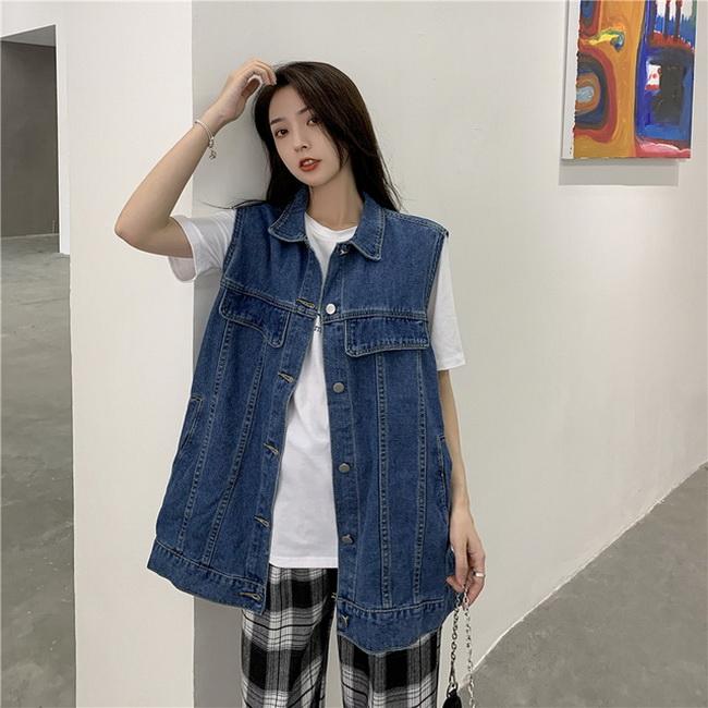 FOFU-韓版雜誌風潮寬鬆BF風外穿牛仔馬甲無袖外套【08SG04920】
