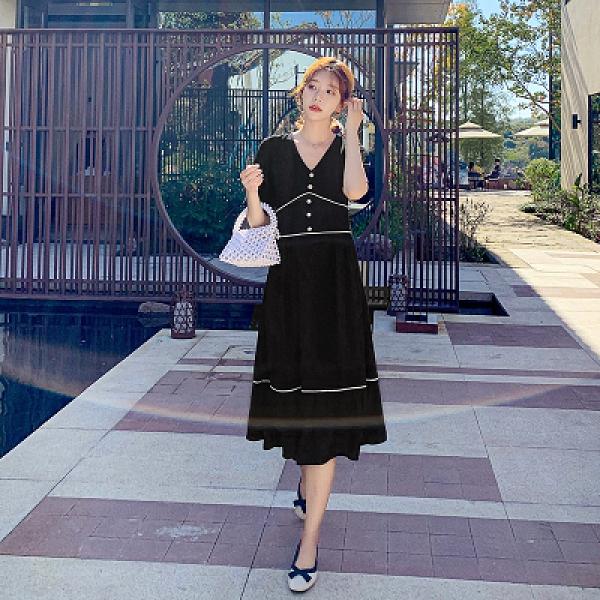 短袖洋裝連身裙~9271#黑色法式復古V領收腰顯瘦連身裙短袖赫本風氣質長款過膝H325日韓屋