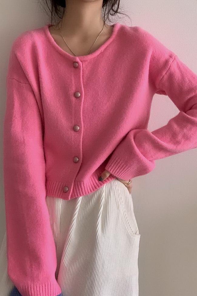 FOFU-珍珠扣韓版針織罩衫百搭寬鬆軟糯短版上衣女【08SG04618】