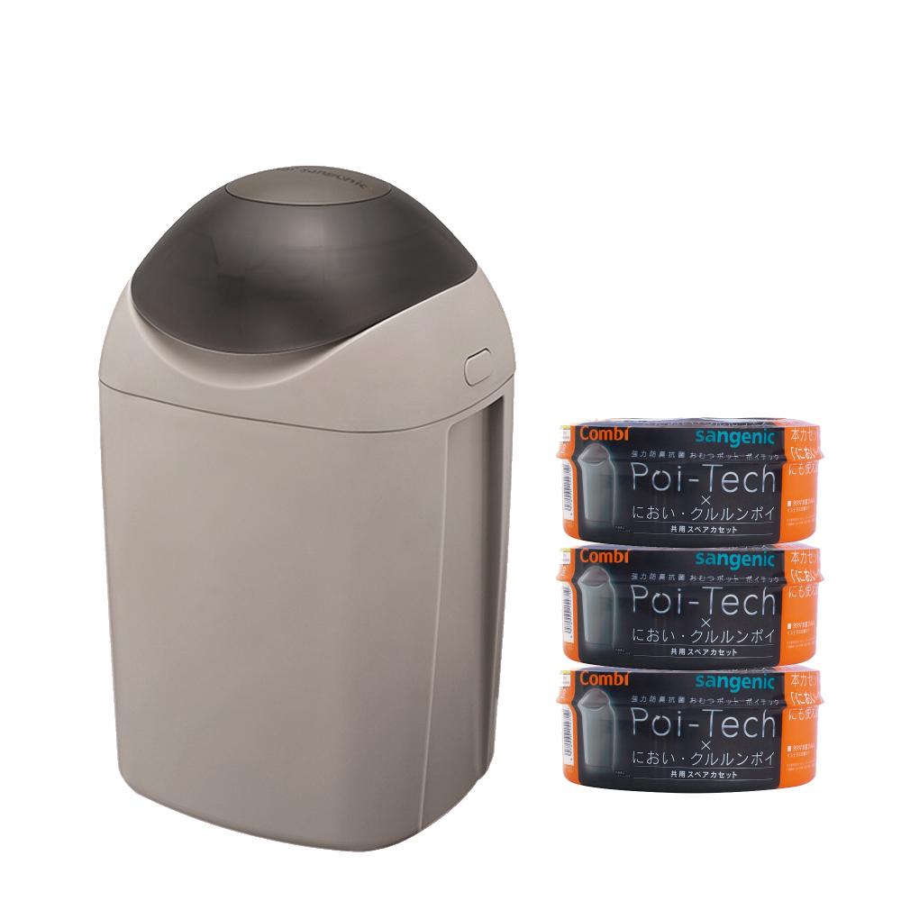 [福利品出清] Poi-Tech 尿布處理器_溫暖灰+膠捲x3