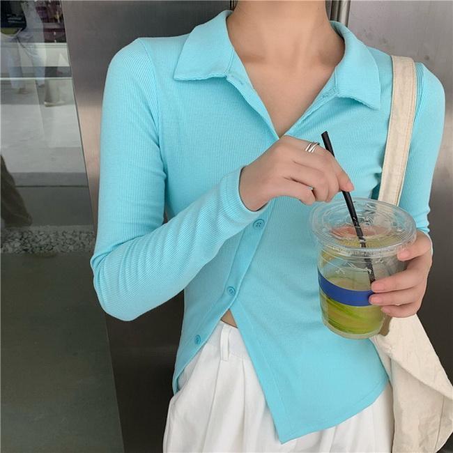 FOFU-針織短版t恤女小心機長袖高腰修身上衣【08SG04844】