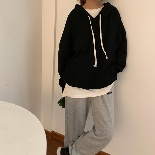 FOFU-韓版百搭套頭連帽素面顯瘦寬鬆衛衣大學T大學T外套女【08SG04575】