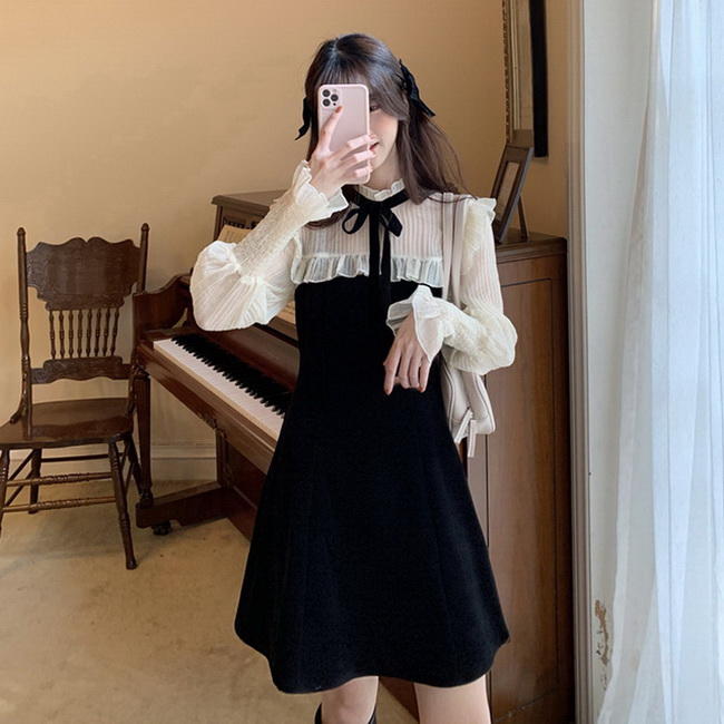 FOFU-超仙氣質收腰打底內搭內搭小黑裙子胖妹妹大碼長袖顯瘦臧肉連身裙【08SG04714】