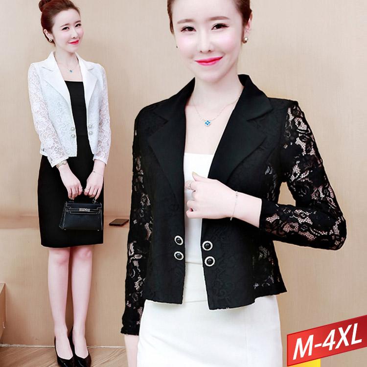 西裝領蕾絲珍珠釦小外套(2色) M~4XL【413749W】【現+預】-流行前線-