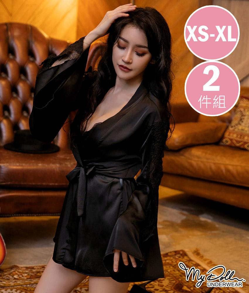罩衫MyDoll 涓淺媚香 柔緞蝴蝶袖傘狀罩衫二件組(黑色/XS到XL適穿)
