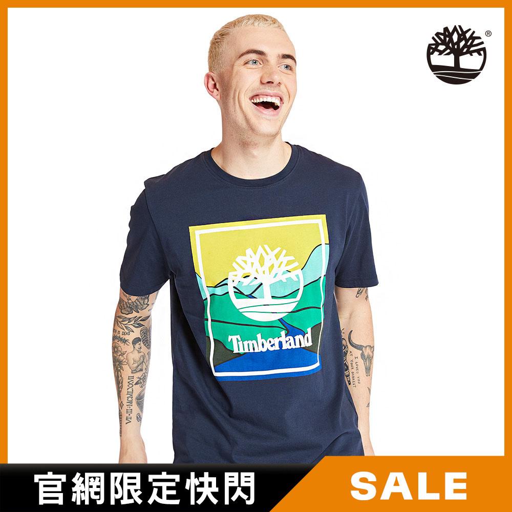 Timberland 男款寶石藍山湖景圖短袖圓領T恤|A2AAU433